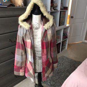 Like new jacket with fur trim